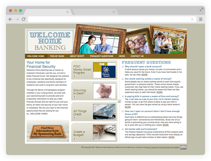 Welcome Home Banking website